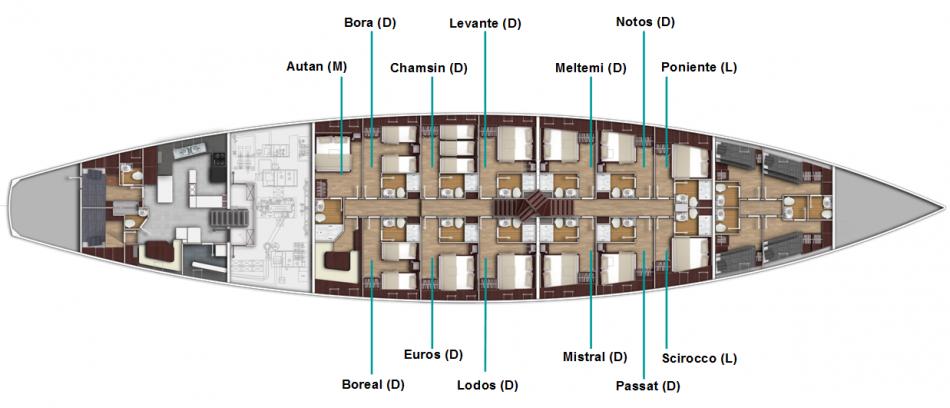 SY Chronos | Kabinenplan | © Sailing Classics