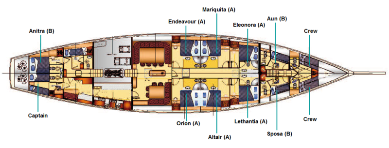 SY Kairos | Kabinenplan | © Sailing Classics