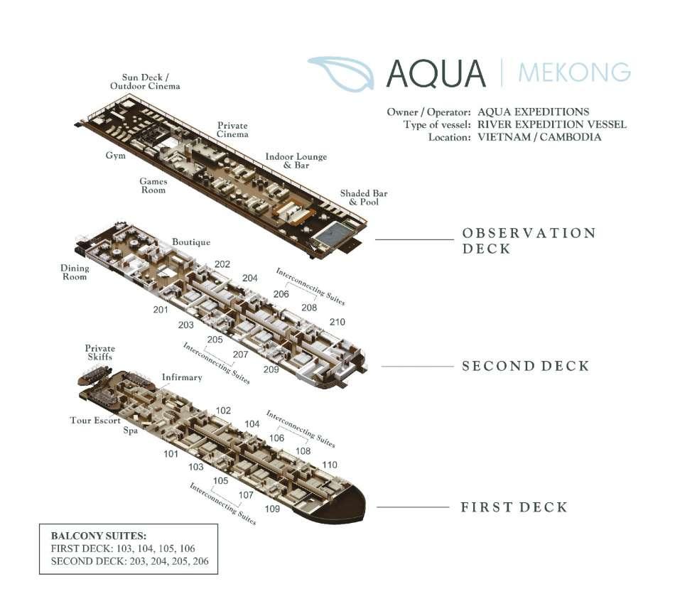 """MV """"Aqua Mekong""""   Deckspläne   © Aqua Expeditions"""