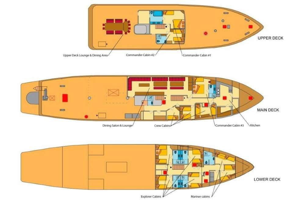 "MV ""Maya's Dugong""   Decksplan   © Silhouette Cruises"