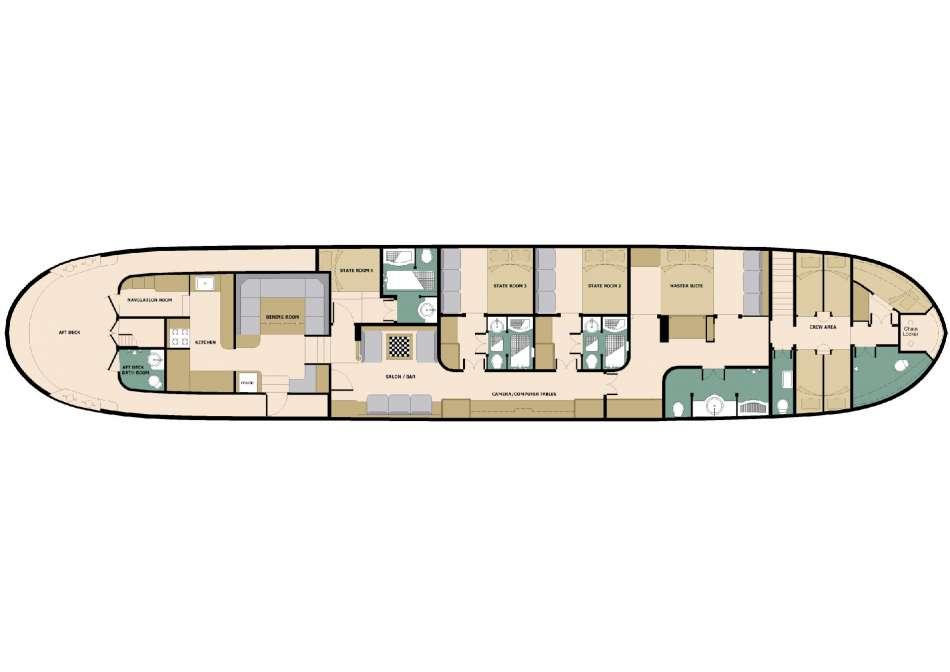 """SY """"Adelaar""""   Decksplan   © Adelaar Cruises"""