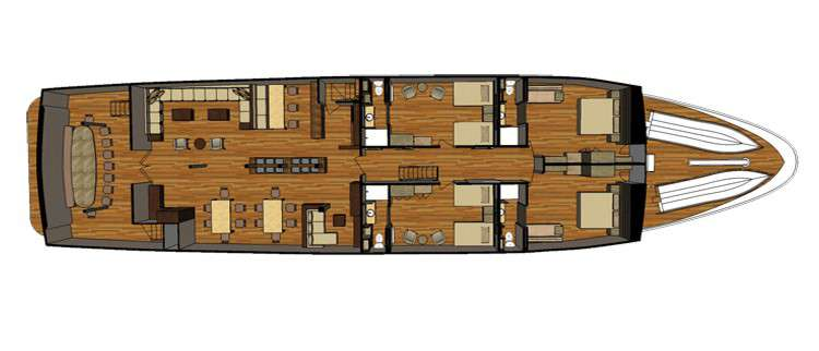 "MY ""Sea Star Journey""   Decksplan - Hauptdeck   © Latin Trails"