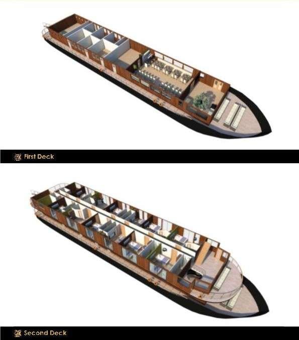 """MV """"Anakonda""""   Decksplan - 1. und 2. Deck   © Advantage Travel Ecuador"""