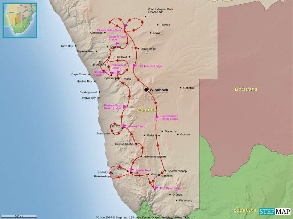 """Namibia - Klassiker auf Abwegen"" | Fahrtroute zur Tour | © Karibik Inside"